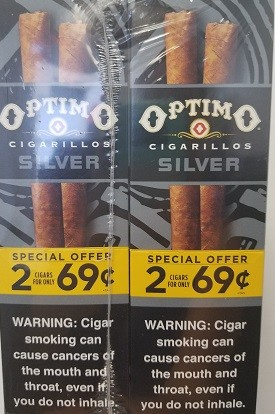 Optimo Cigarillos Silver Pre-Priced 2/69cents